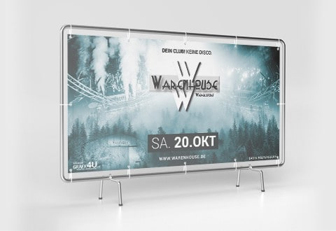 Event-Marketing | Werbebanner Bauzaun - Warenhouse Wiepersdorf